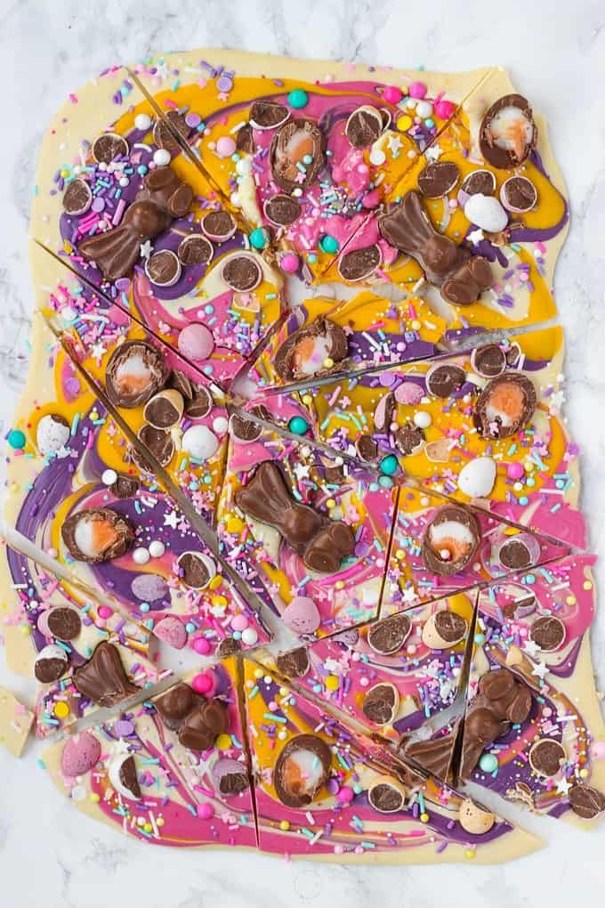 Chocolate Easter Bark with Candy & Mini Eggs