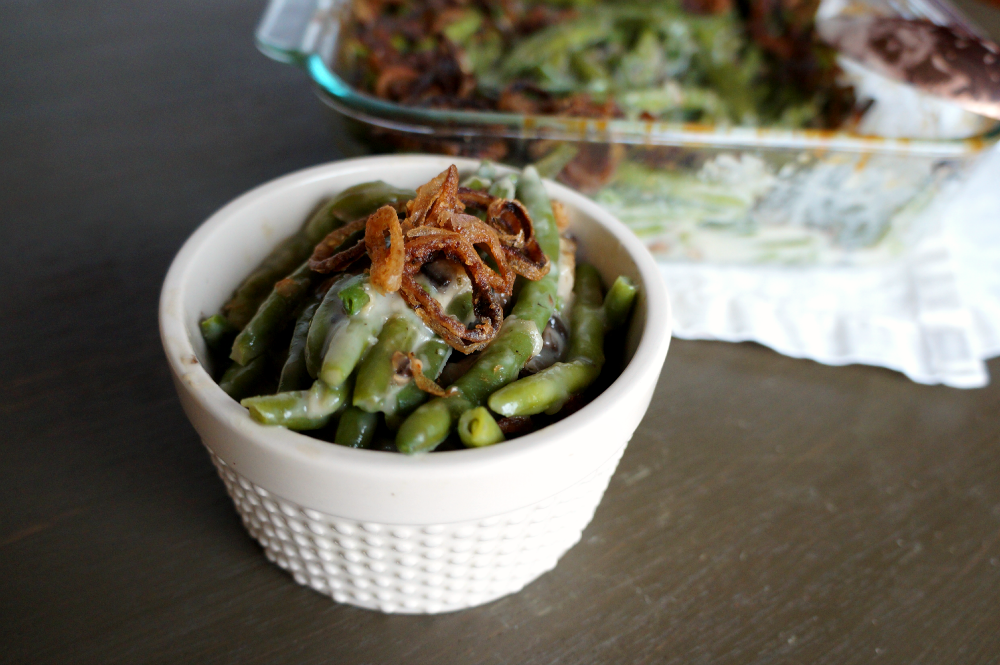 homemade green bean casserole with fried shallots