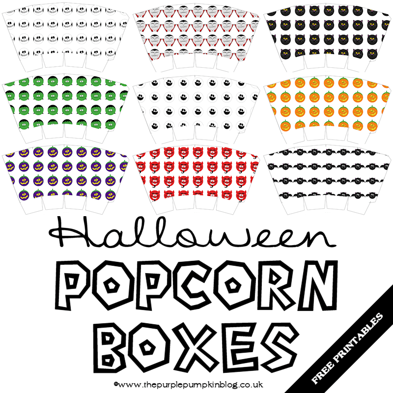 Halloween Popcorn Boxes – Free Printables | #Crafty October
