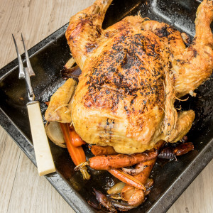 ROAST CHICKEN WITH STICKY CARROTS