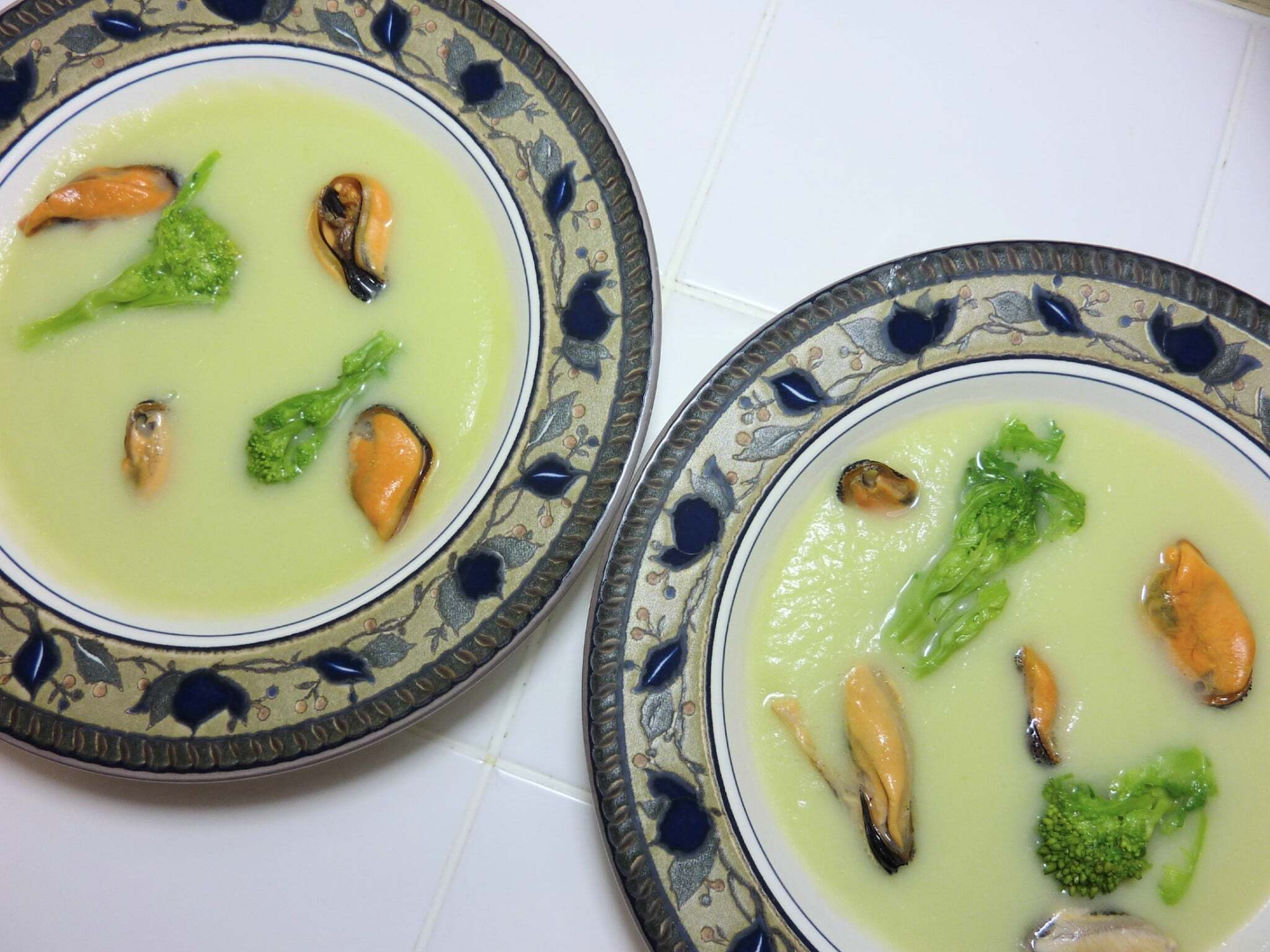 Chayote Mousse with Mussels and Cime di Rapa