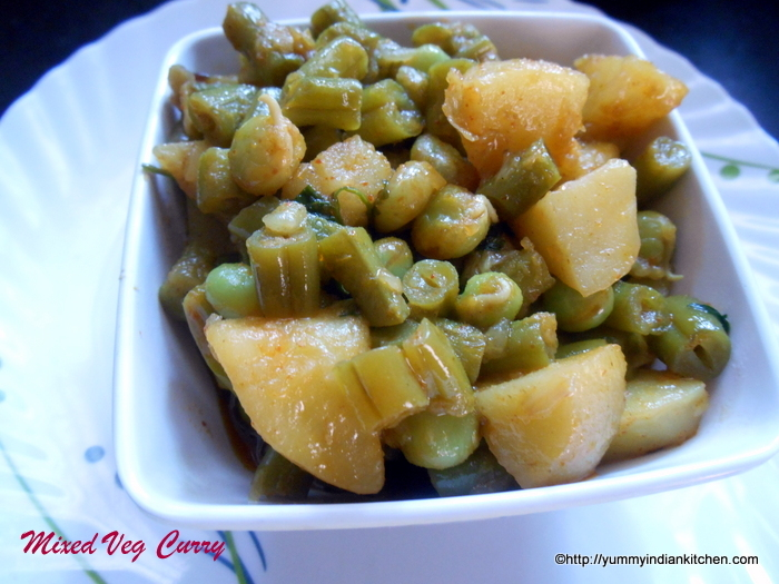 Aloo Mutter Beans Curry, Mixed Veg Curry Recipe