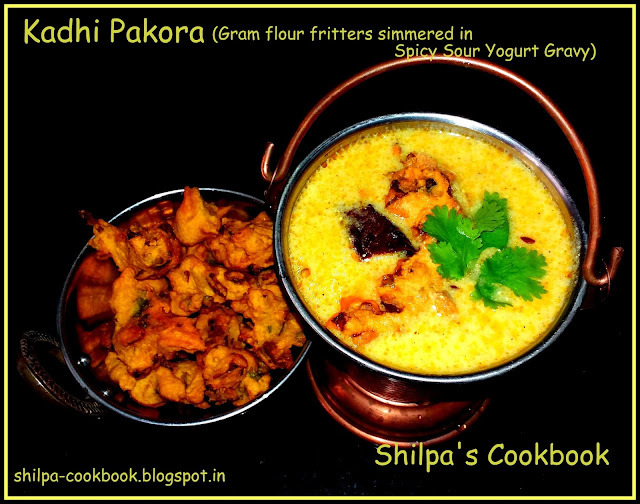 Kadhi Pakora (Gram flour fritters simmered in Spicy Sour Yogurt Gravy)