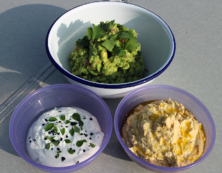 Trio of Homemade Dips - Garlic, Guacamole and Hummus