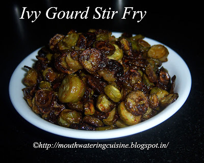 Ivy Gourd Stir Fry -- Dondakaya Stir Fry -- How to make Dondakaya Stir Fry Recipe