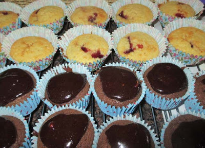 Chocolate and Bakewell Fairy Cakes - all-in-one recipe - quick