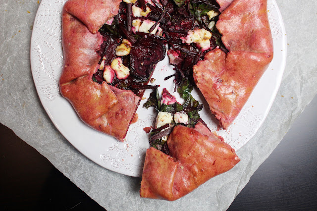 beetroot and manouri goats cheese galette