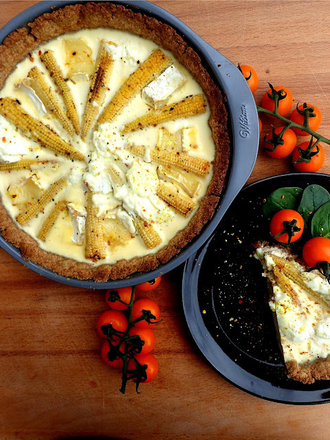 Four cheese spicy tart with baby corn. Healthy, interesting idea for dinner.