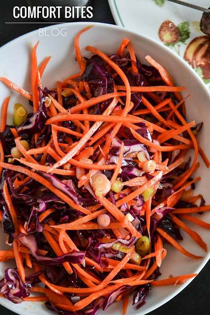 Red Cabbage, Carrot and Spring Onion Salad