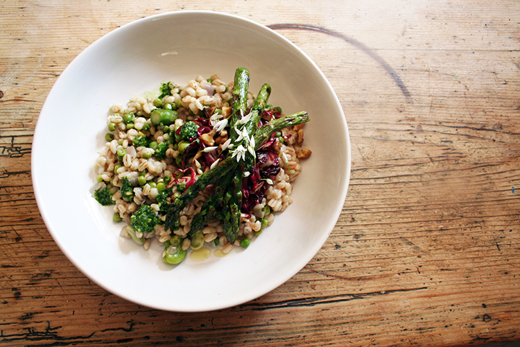 broad bean and pea risotto with grilled asparagus, radicchio & toasted walnuts with balsamic, yuzu and honey dressing and wild garlic pesto