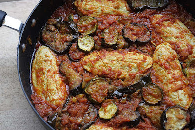 Iranian Style Quorn 'Chicken' Stew with Aubergines and Courgettes