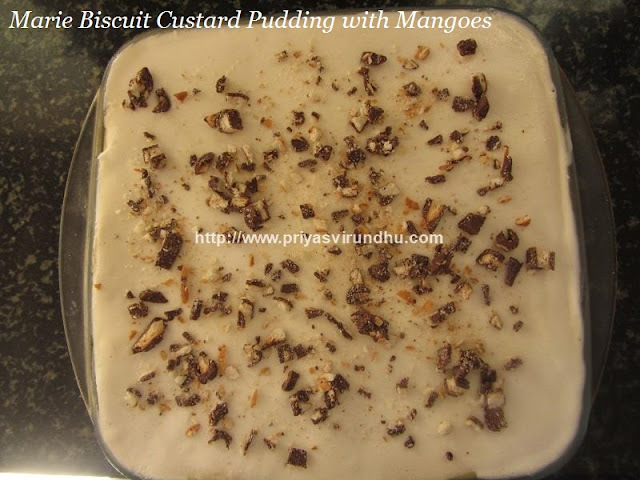 Marie Biscuit Custard Pudding With Mangoes – No Bake – Eggless Marie Biscuit Pudding