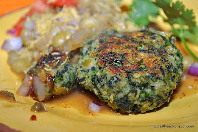 Hariyali Cutlet with ragda a.k.a green cutlet with gravy - A Spring inspired chat :-)