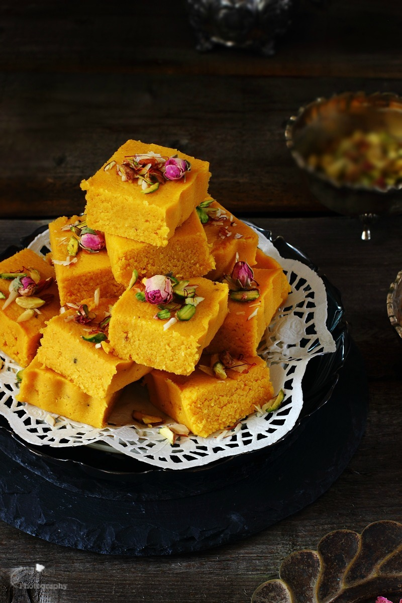 Mawa Kesar Kopra/Topra Paak RAKSHA BANDHAN / RAKHI  SPECIAL - Indian style Coconut fudge with Infused Saffron