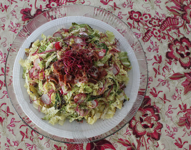 Roasted Savoy Cabbage Slaw with Spicy Bacon Dressing #SundaySupper