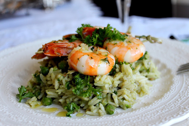 Avocado Rice with grilled shrimp