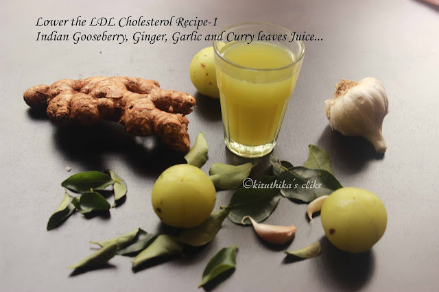 Indian Gooseberry(Amla), Curry leaves, Ginger and Garlic juice- Juice to lower your LDL Cholesterol, A hair Tonic