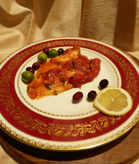 Plaice in tomato saffron sauce