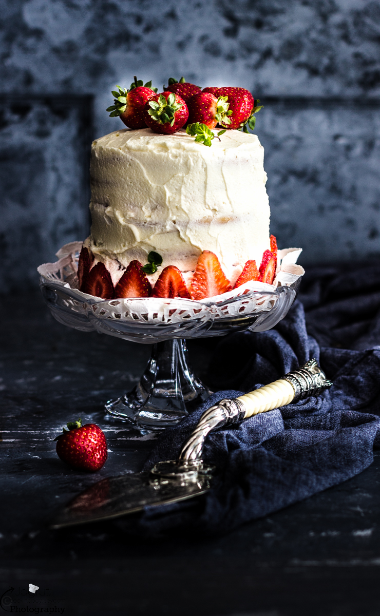 Eggless Strawberry Pastel de Tres Leches - Three milk Cake with Fresh Strawberries