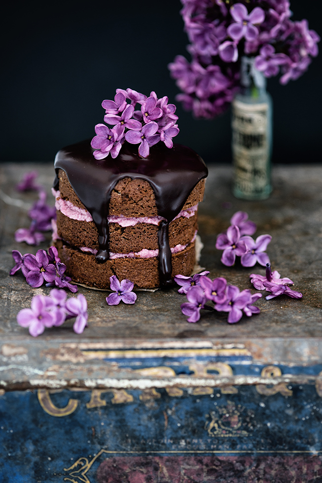 Mini Chocolate Almond Cakes with Blackberry Buttercream and Chocolate Glaze