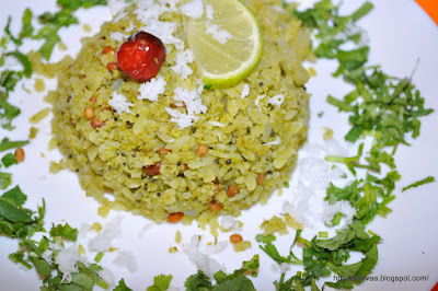 Avalakki with Cilantro masala - a twist to your favorite breakfast