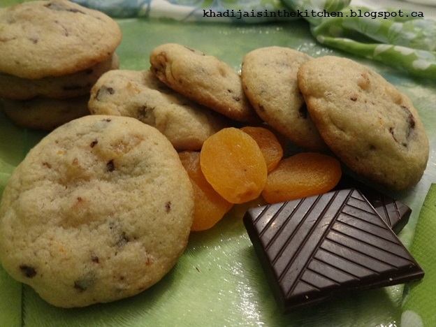 BISCUITS AUX ABRICOTS SECS ET AU CHOCOLAT / DRIED APRICOTS CHOCOLATE COOKIES / GALLETAS CON ALBARICOQUES SECOS Y CHOCOLATE / بسكوي بالمشمش المجفف و الشكولاته