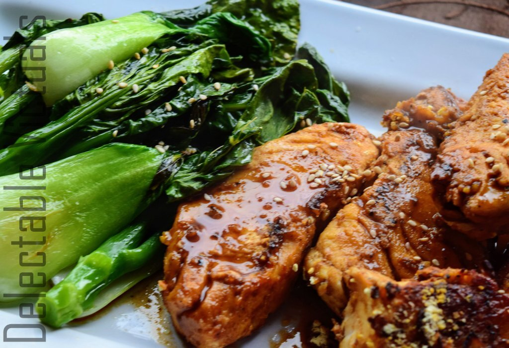 Teriyaki Halibut with Sauteed Garlic Gai Lan