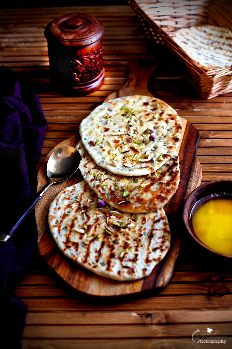 Peshwari Naan - Indian leavened Bread stuffed with fruit and nuts