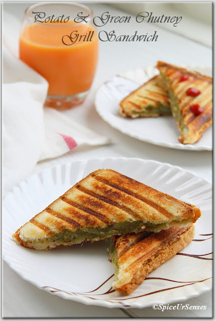 Potato And Green Chutney Grill Sandwich. Bombay Sandwich!!