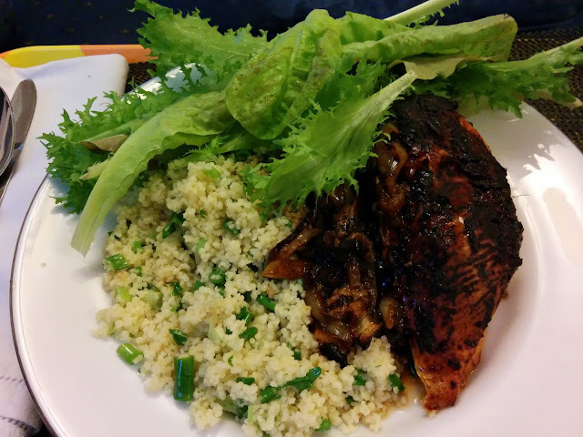 RECIPE: Harissa and Lemon Chicken with  Sticky Onions and Spring Onion CousCous