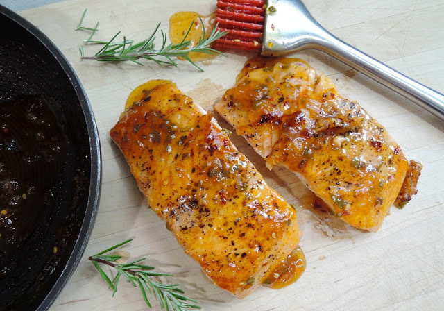 Pan-Roasted Salmon with Apricot-Chile Glaze