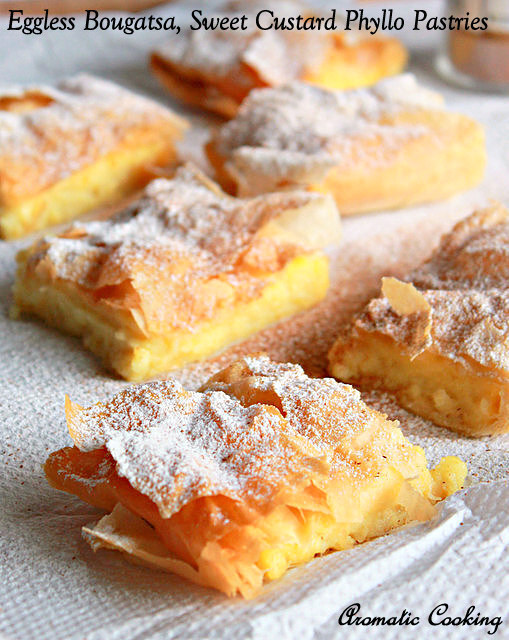 Eggless Bougatsa, Custard Filled Greek Phyllo Pastries