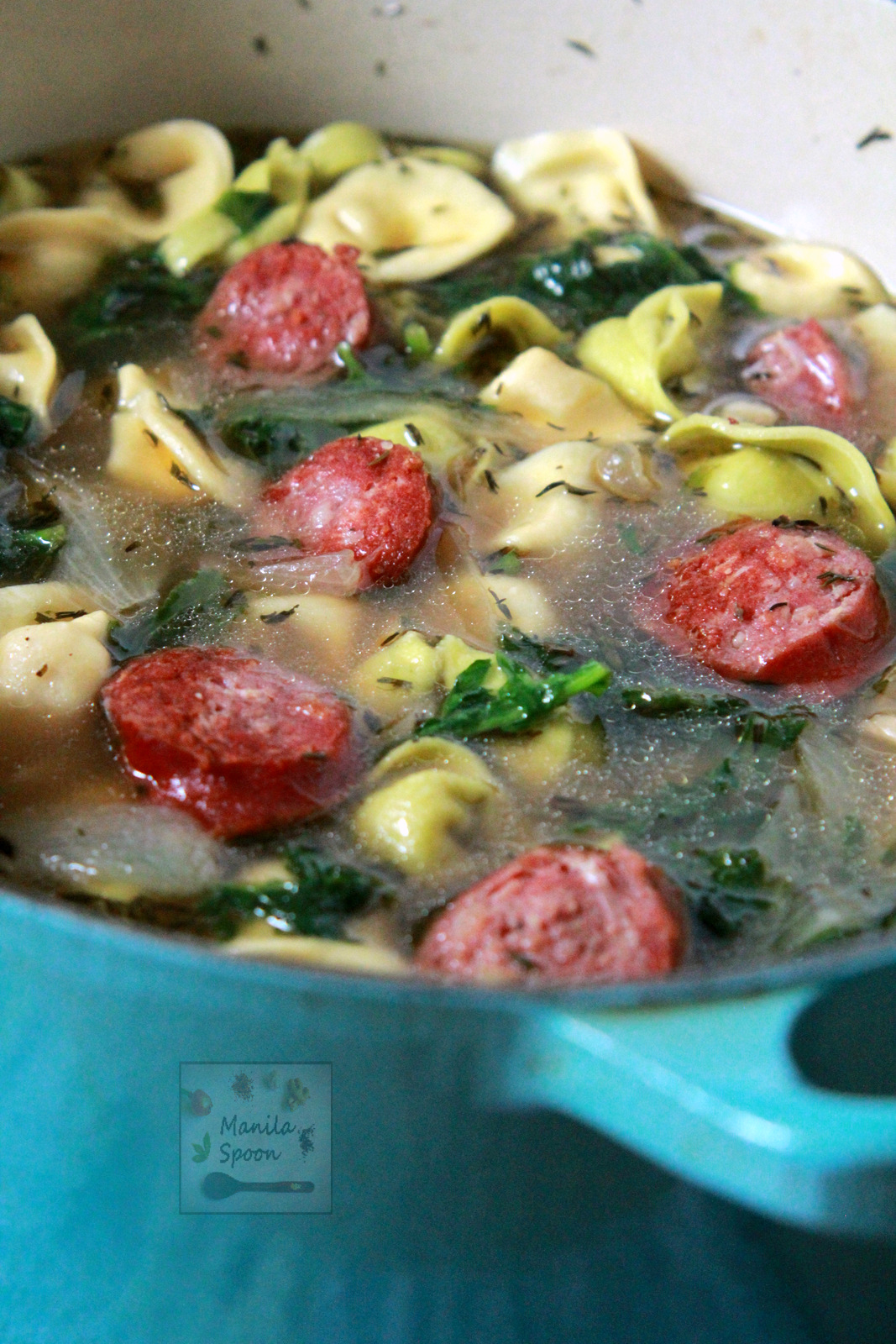Cheese Tortellini Soup with White Beans and Kielbasa