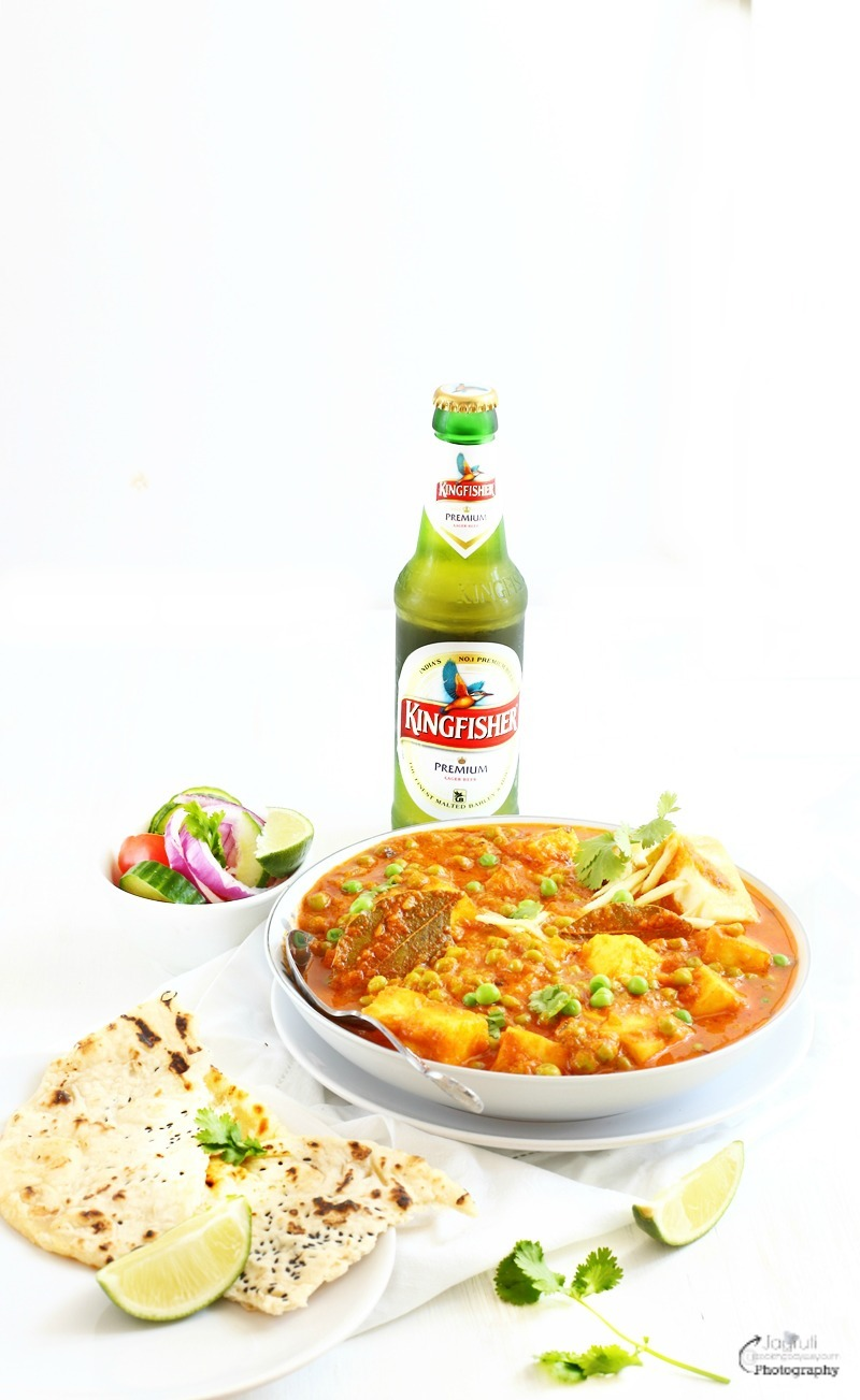 Matar Paneer - Green Peas with Indian Cottage Cheese - Product Review - Kingfisher Beer