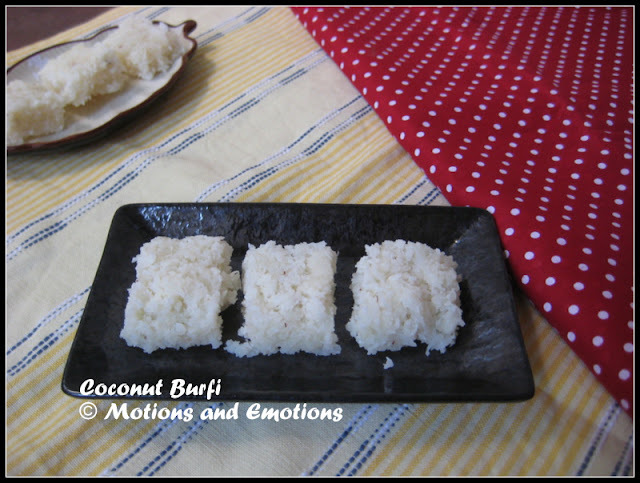 Coconut Burfi / Two ingredient Coconut Burfi