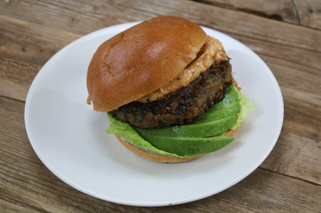 Spicy Sweet Potato & Black Bean Burgers with Avocado