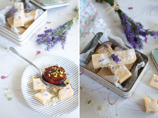 Lavender shortbread with baked plums