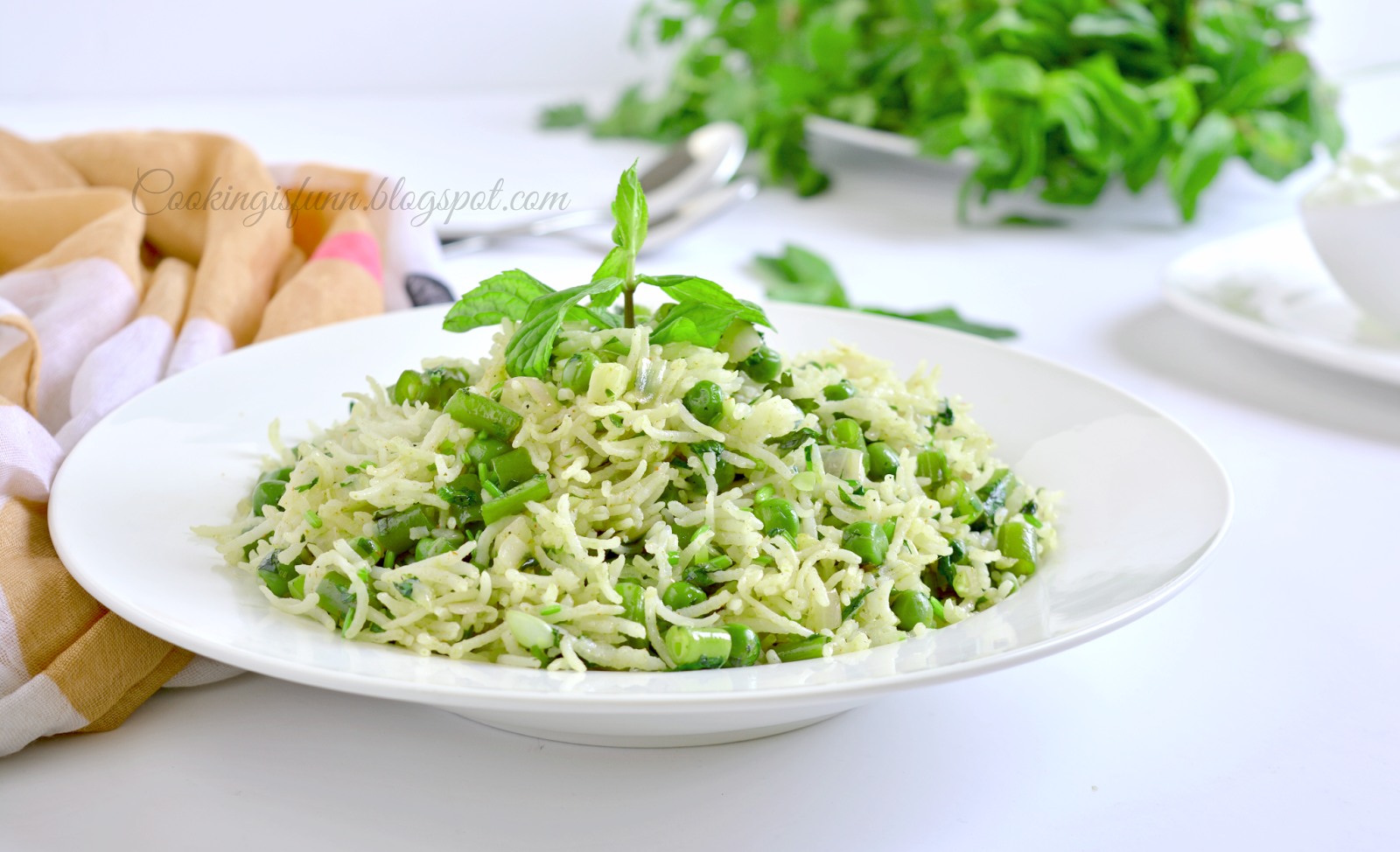 Green Peas and Mint Pulao