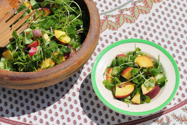 Fresh Peach Cucumber Salad #SundaySupper