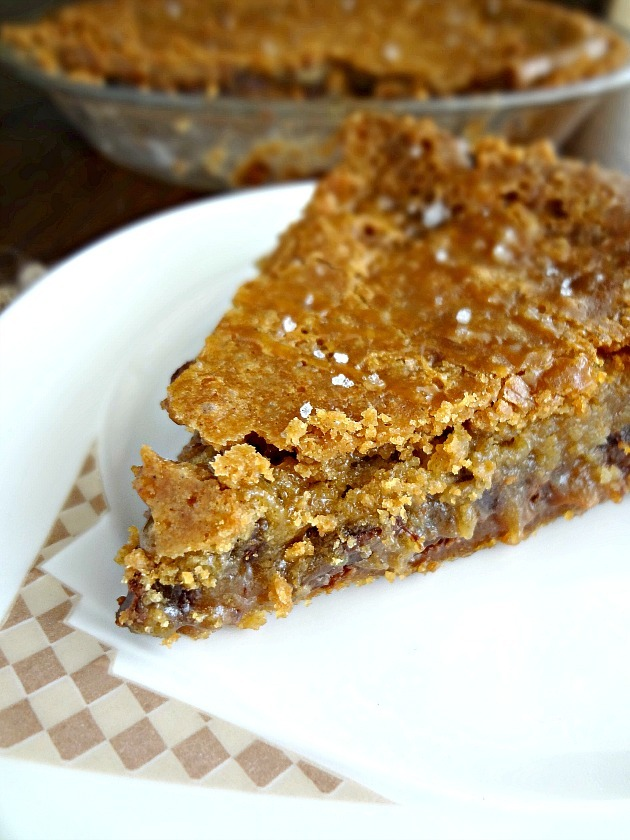 Salted Caramel Chocolate Chip Cookie Pie