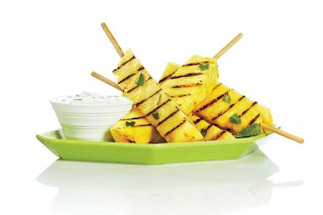 Grilled Pineapple Skewers with Honey Lime Yogurt Dip - myTaste.in