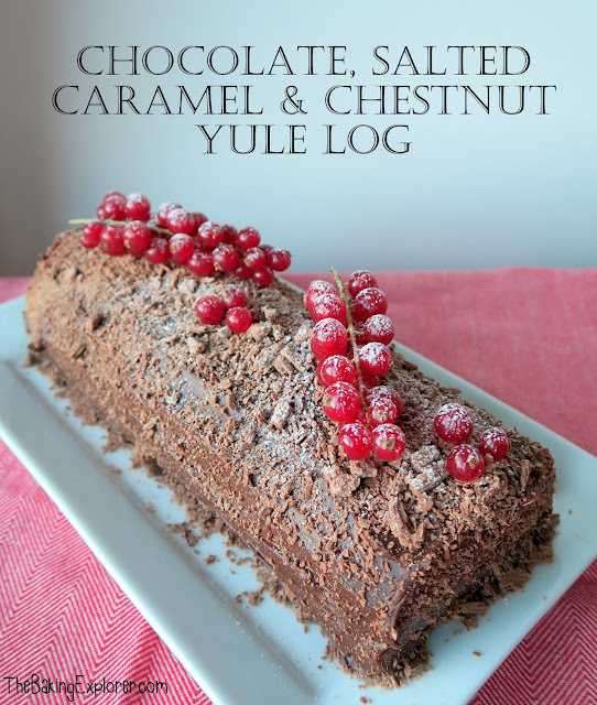 Chocolate, Salted Caramel & Chestnut Yule Log