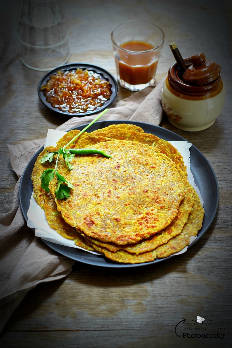 Multigrain Dudhi/Lauki Thepla - Indian flat bread made with bottle gourd and multi grain flour