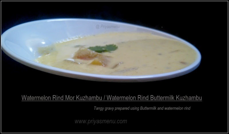 Watermelon Rind Mor Kuzhambu / Watermelon Rind Buttermilk Kuzhambu