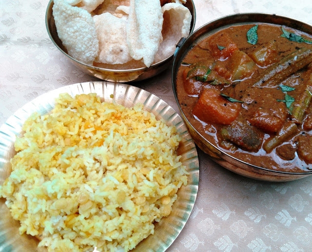 Manjal Pongal and Thaalagam (Yellow Dal Rice  with Mixed Vegetable Gravy)