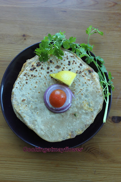 Paneer Paratha/ Cottage cheese stuffed Indian whole wheat bread