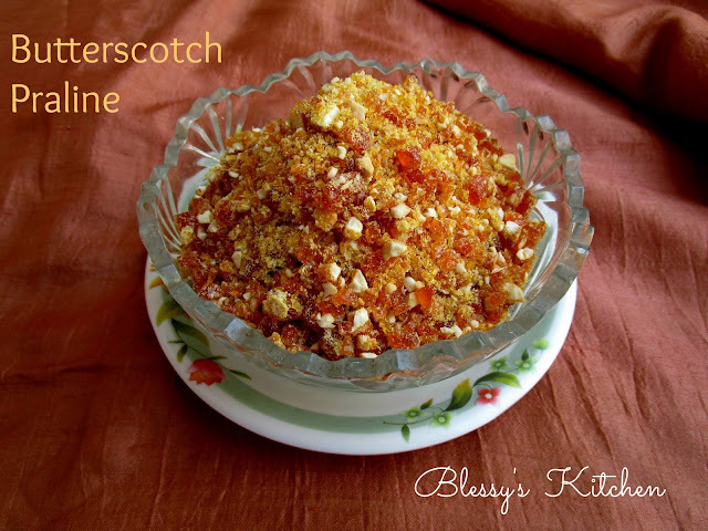 Homemade Butterscotch Praline/ Butterscotch topping for cakes/Ice creams and other desserts/ Crunchy Butterscotch Praline