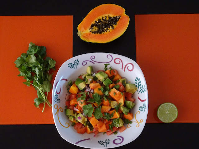 Pico de gallo con aguacate y papaya