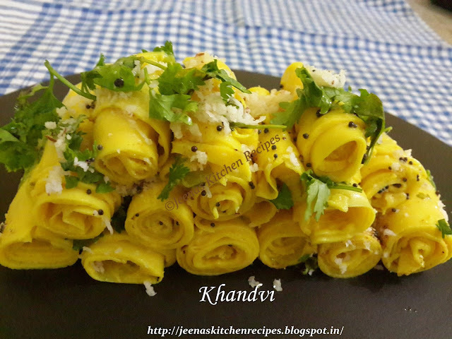Khandvi for the occasion of jeenaskitchenrecipes.blogspot.in turning 2
