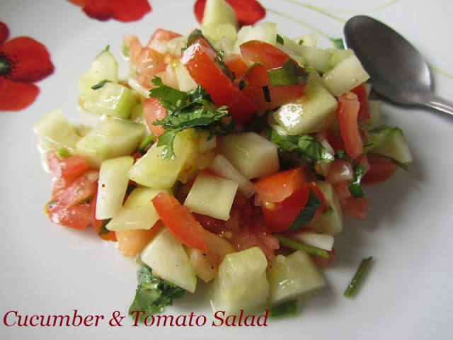 Cucumber & Tomato Salad/Weight loss Recipes/Diet Recipes/Easy and Quick Salad Recipes/Vellarikkai Thakkali Salad